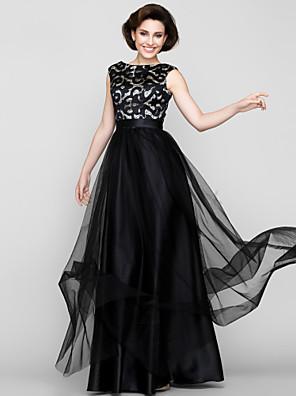 Lanting Bride® Linha A Vestido Para Mãe dos Noivos Longo Sem Mangas Tule - Estampa