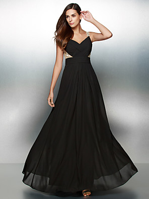 TS Couture® Formal Evening Dress A-line V-neck Floor-length Chiffon with Appliques / Criss Cross