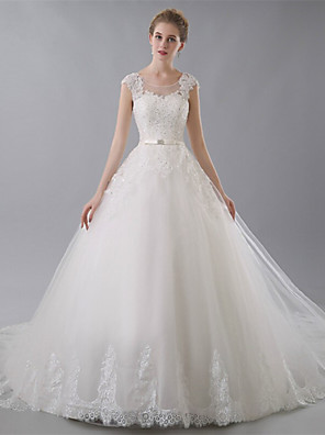 Ball Gown Wedding Dress Chapel Train Jewel Tulle with Appliques / Bow / Lace