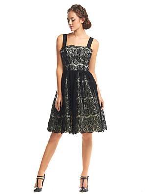 ts couture® cocktail party dress a-lijn riemen knielange kant met kant