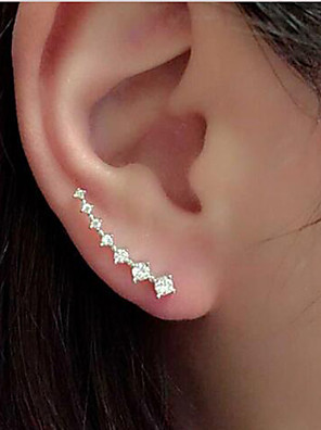 Earring Silver Plated Ear Cuffs Jewelry Women / Girls Hypoallergenic Wedding / Party / Daily / Casual Alloy / Rhinestone 1 pairGold /