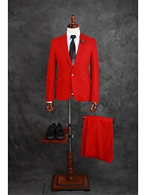 חליפות גזרה מחוייטת פתוח Single Breasted One-button תערובת כותנה חלק שני חלקים אדום דש ישר כפול (שניים) אדום כפול (שניים) כפתורים / כיסים