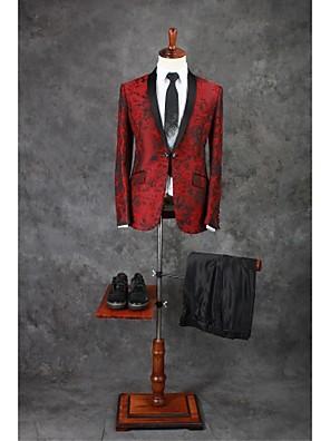 Suits Moderno Xale Comum 1 Butão Poliéster Desenhos 2 Peças Bordô Lapela Reta Duas Pregas Duas Pregas Bordados / Estampa/Desenho