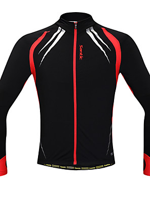 SANTIC® ג'קט לרכיבה לגברים שרוול ארוך אופניים שמור על חום הגוף / עמיד / עיצוב אנטומי / בטנת פליז / רוכסן קדמי / מפחית שפשופיםג'קט / ג'רזי