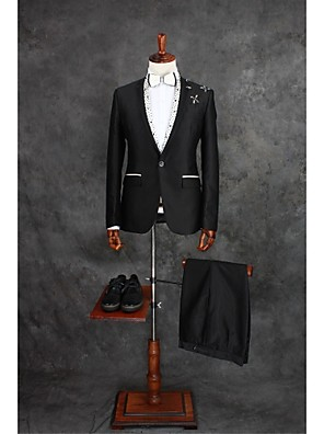 Suits Moderno Notch/ Paletó Fino Comum 1 Butão Misto de Algodão Gingham 2 Peças Preto Lapela Reta Uma Prega Preto Uma PregaMiçangas /