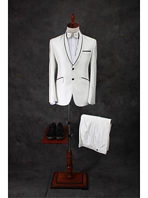 Obleky Na míru Šálový límec Jednořadové se dvěma knoflíky Směs bavlny Jednobarevné 2 ks Slonovinová Rovné s klopou Dvojitý (Dva)Dvojitý
