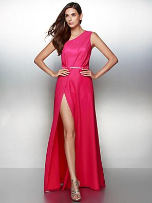 TS couture® 공식적인 저녁 크리스탈 디테일이있는 줄을 한 어깨 층 길이 쉬폰 드레스