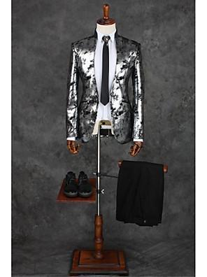 חליפות גזרה מחוייטת Mandarin Collar Single Breasted One-button פוליאסטר דוגמאות שני חלקים אפור בהיר דש ישר כפול (שניים) אפור בהירכפול