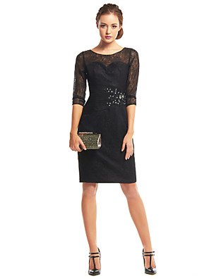 TS Couture® Cocktail Party Dress Sheath / Column Scoop Knee-length Lace with Appliques / Lace / Ruching
