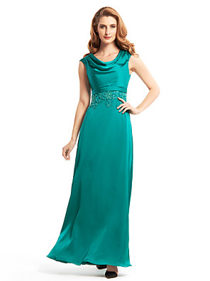 Sheath / Column Mother of the Bride Dress Ankle-length Sleeveless Chiffon with Beading