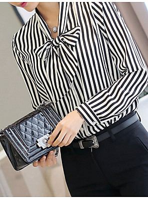 פסים צווארון רף פשוטה פורמאלי חולצה נשים,קיץ שרוול ארוך שחור דק פוליאסטר