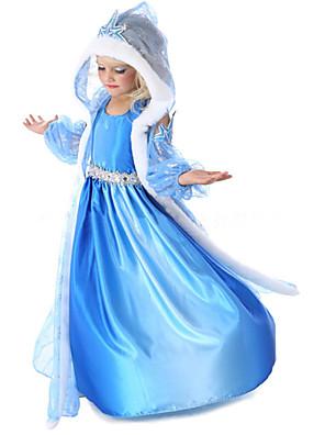 Fantasias de Cosplay Princesa / Conto de Fadas Cosplay de Filmes Azul Cor Única Casaco / Vestido / Luvas Dia Das Bruxas / Natal / Ano Novo