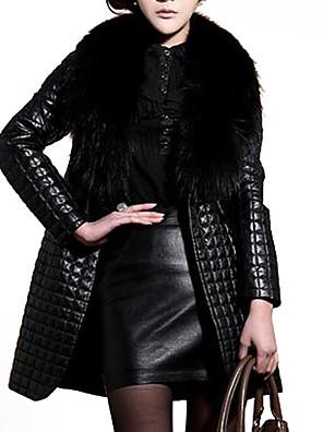 Dámské Jednobarevné Velké velikosti / Jdeme ven Vintage / Punk & Gothic Kožich-Umělá kožešina / Umělá kůže Zima Do V Dlouhý rukáv Černá