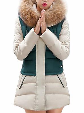 Dámské Dlouhé S vycpávkou Jednobarevné-Kabát Bavlna Bavlna Dlouhý rukáv Kapuce Modrá / Červená / Zelená