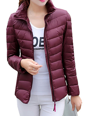 Women's Solid Blue / Pink / Red / Black / Green / Purple / Navy Blue Down Coat , Casual / Plus Sizes Stand Long Sleeve