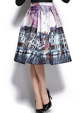 Jupes Aux femmes Mi-long Coton / Polyester Micro-élastique