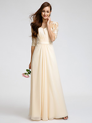 Lanting Bride® Longo Chiffon Vestido de Madrinha - Tubinho Decote em U com Renda