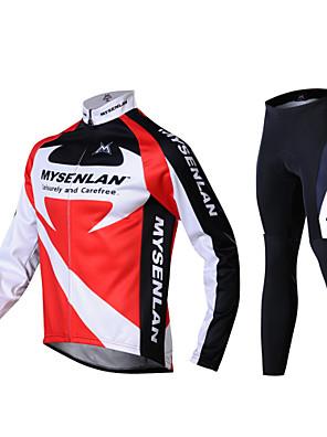 MYSENLAN® חולצה וטייץ לרכיבה לגברים שרוול ארוך אופניים שמור על חום הגוף / עמיד / בטנת פליז / לביש / 3D לוח / רצועות מחזירי אורמכנסיים /