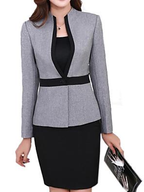 Women's Plus Size Simple Fall Blazer,Solid Asymmetrical Long Sleeve Gray Others Medium