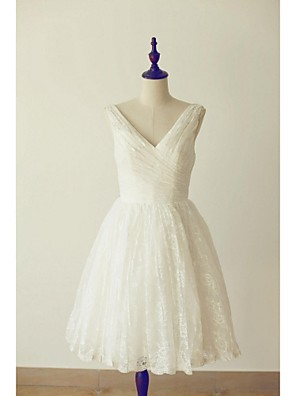A-line Wedding Dress - Ivory Knee-length V-neck Lace