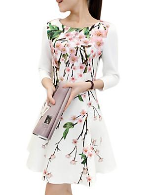 קיץ פוליאסטר לבן אורך שרוול ¾ מעל הברך צווארון עגול דפוס ליציאה / מידות גדולות שמלה נשים מיקרו-אלסטי דק