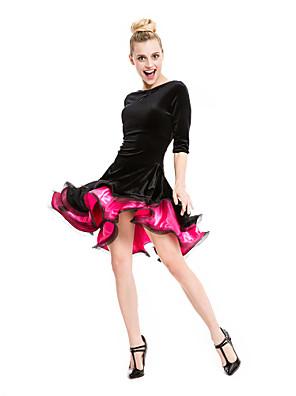 Dança Latina Vestidos e Saias Mulheres Actuação Veludo / Viscose Franzido 1 Peça Meia manga Vestidos Long:90cm Short:70cm