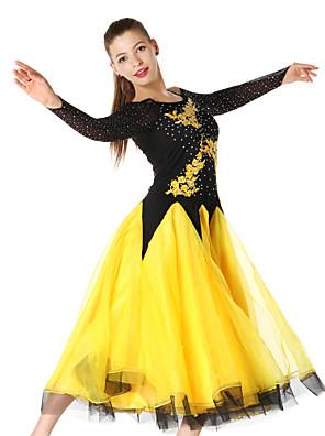 Dança de Salão Vestidos Mulheres Actuação Náilon Chinês / Renda Cristal/Strass / Bordado 1 Peça Manga Comprida VestidosS-XXL:95cm /