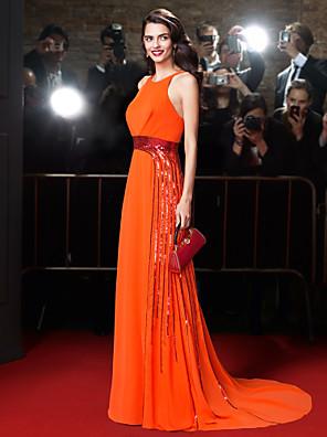 TS Couture® Dress Sheath / Column Jewel Court Train Chiffon with Beading / Sash / Ribbon / Sequins