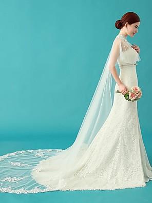 Wraps casamento / Xales / Capuzes e Ponchos Capas Sem Mangas Renda / Tule Marfim Casamento / Festa / Casual Canoa Apliques / Cristal
