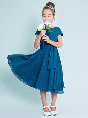 Lanting Bride® Longuette Chiffon Vestido de Daminha de Honra Linha A Decorado com Bijuteria com Botões