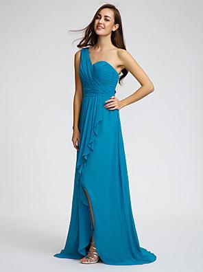 Lanting Bride® שובל סוויפ \ בראש שיפון שמלה לשושבינה - מעטפת \ עמוד כתפיה אחת עםקפלים / סרט / בד נשפך בצד / שסע קדמי / בד בהצלבה /