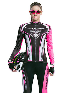 SANTIC® Calça com Camisa para Ciclismo Mulheres Manga Comprida MotoRespirável / Resistente Raios Ultravioleta / Permeável á Humidade /