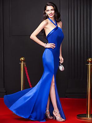 ts couture® נדן שמלת הערב רשמי / טור קולר באורך רצפת שיפון / למתוח סאטן עם
