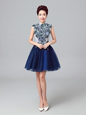 באורך  הברך טול שמלה לשושבינה - גזרת A צווארון גבוה עם ריקמה / תחרה