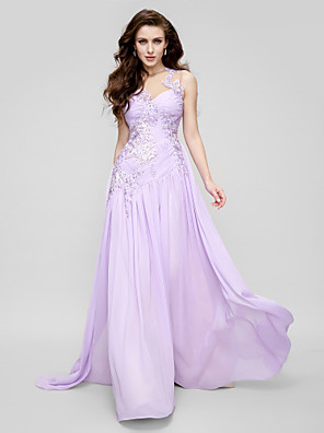 TS Couture® Formal Evening Dress A-line Jewel Court Train Chiffon / Tulle with Appliques / Side Draping / Ruching