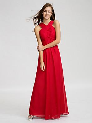 Lanting Bride® עד הריצפה שיפון שמלה לשושבינה - מעטפת \ עמוד צווארון וי עם תד נשפך / בד בהצלבה / סלסולים