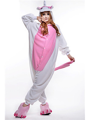 Kigurumi Pajamas Unicorn Leotard/Onesie Festival/Holiday Animal Sleepwear Halloween Pink Patchwork Polar Fleece Kigurumi For Unisex