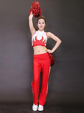 Fantasias para Cheerleader Roupa Mulheres Actuação Poliéster Padrão/Estampado 2 Peças Sem Mangas Alto Calças / Top 138-146cm