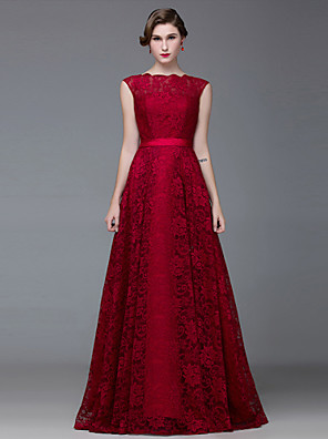 Formal Evening Dress A-line Bateau Floor-length Lace / Satin with Lace / Sash / Ribbon