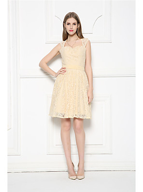 Knee-length Lace Bridesmaid Dress A-line Sweetheart with Lace / Sash / Ribbon