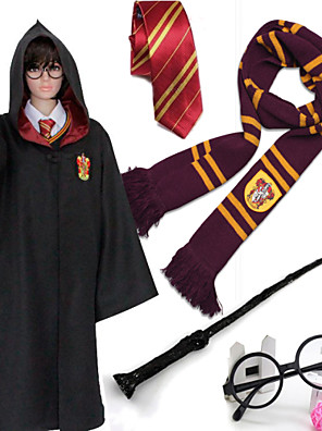 Harry Potter Black Cloak From Movie Cosplay  Kids Costumes 5PCS(Cloak+Necktie+Scarf+Magic Wand+Spectacle Frame)