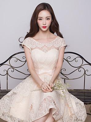 비대칭 레이스 신부 들러리 드레스 볼 드레스 쥬얼리 와 리본