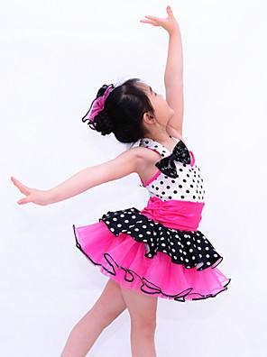 בגדי ריקוד לילדים טוטוס בגדי ריקוד ילדים ביצועים ספנדקס / סאטן אלסטי / אורגנזה קשת (תות) / עטוף / קפלים / שכבות / מנוקד 2 חלקיםבלי