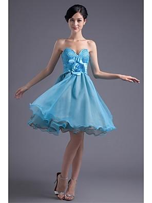 Mi-long Organza / Satin Elastique Robe de Demoiselle d'Honneur  Princesse Sans Bretelles avec Billes / Fleur(s)