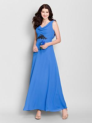 Lanting Bride® Até o Tornozelo Chiffon Vestido de Madrinha - Linha A Drapeado com Detalhes em Cristal
