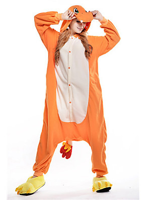nova charmander cosplay® polar fleece pijama adulto kigurumi (sem sapatos)