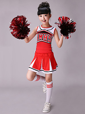 תלבושות למעודדות תלבושות בגדי ריקוד ילדים ביצועים כותנה / ספנדקס דפוס / הדפסה 2 חלקים בלי שרוולים גבוה חצאית / עליון