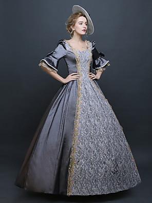 /שמלותחתיכה אחת לוליטה גותי Steampunk® / ויקטוריאני Cosplay שמלות לוליטה כחול / אפור אחיד חצי שרוול ארוך שמלה / כובע ל נשיםמשי / סאטן /