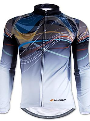 NUCKILY® חולצת ג'רסי לרכיבה לגברים שרוול ארוך אופניים עמיד למים / שמור על חום הגוף / עמיד / מוגן מגשם / רצועות מחזירי אור ג'רזי / צמרות