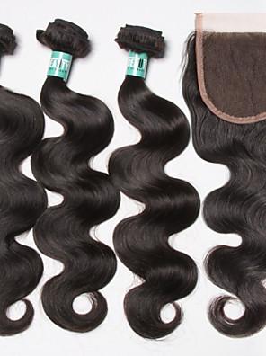 brazilian hair 3 bundels met vetersluiting body wave onbewerkt maagd menselijk haar weave extensions